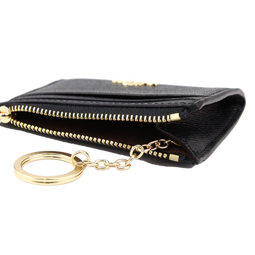 COACH 防刮皮革拉鍊證件零錢鑰匙包(黑)