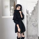 法式復古毛呢外套裙子赫本顯瘦法國小眾超仙小黑裙連衣裙女秋冬季 8號店