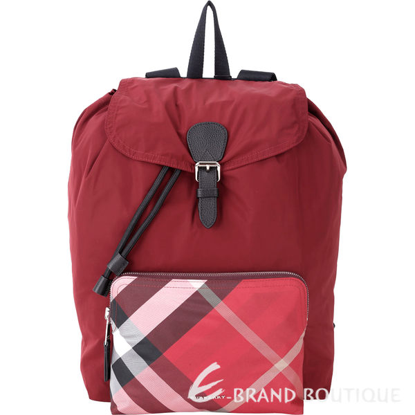 BURBERRY The Rucksack 格紋口袋尼龍抽繩後背包(紅色) 1730109-54