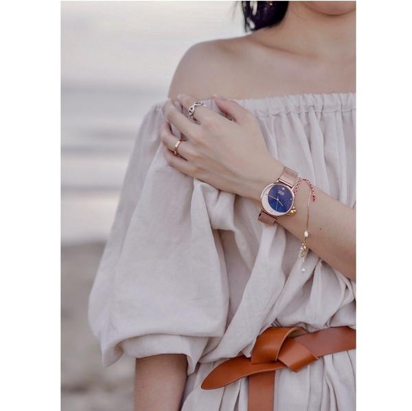 NATURALLY JOJO 照耀時尚手錶 玫瑰金X藍 JO96977-55R 現貨