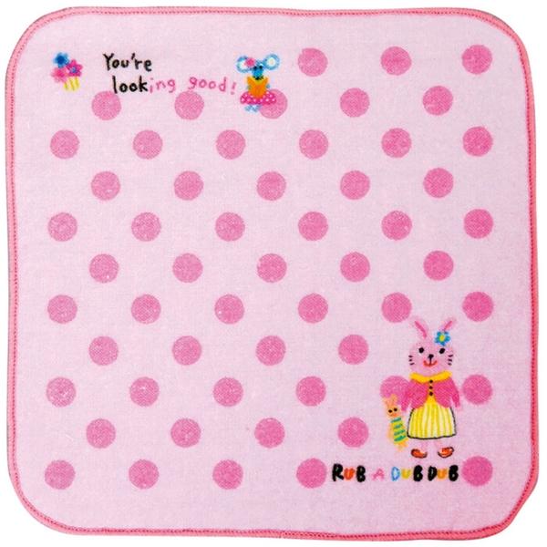 【日本製】【Rub a dub dub】紗布迷你手帕巾 粉色 SD-9206 - Rubadubdub