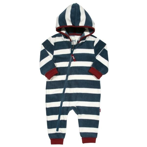 長袖連身 Kite Kids 保暖刷毛拉鍊連帽長袖連身衣 / 哈衣 - 藍白條紋 BB934