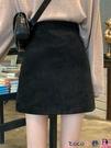 熱賣短裙 包臀半身短裙女春款季百搭高腰a字裙鹿皮絨黑色裙子半身裙外穿 coco
