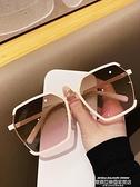 墨镜 韓版氣質金屬半框太陽鏡女圓臉ins風街拍墨鏡防紫外線旅行遮陽鏡 新品