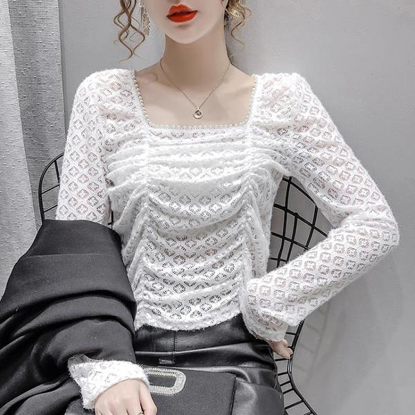 現貨寄出 鏤空蕾絲打底衫女秋季新款韓版修身百搭時尚褶皺釘珠短款上衣