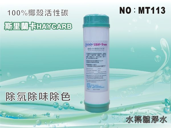 【水築館淨水】 10吋UDF 9-ONE斯里蘭卡Haycarb椰殼活性碳濾心 RO純水機 淨水器(貨號MT113)