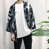 日系浮世繪仙鶴印花和服開衫男七分袖oversize情侶襯衫和風薄外套·母親節禮品