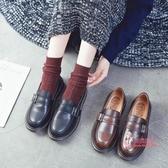 娃娃鞋 新款圓頭娃娃鞋軟妹jk製服小皮鞋女潮厚底學院風復古ins單鞋 2色