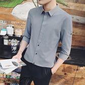 夏季新款男士中袖襯衫韓版青年修身