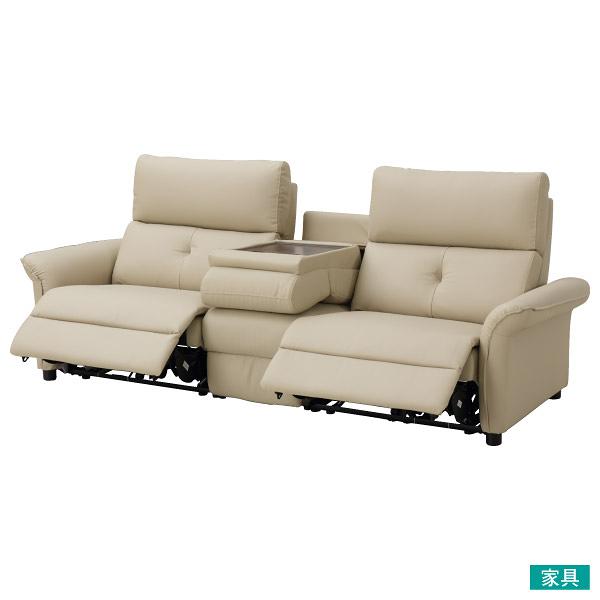 ◎耐磨皮革3人用加大電動可躺式沙發 N-SHIELD PUR BE NITORI宜得利家居
