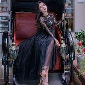 長袖洋裝-黑色鏤空蕾絲亮片女連身裙73pu87[巴黎精品]