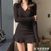 短裙 Tuku法式洋裝v領荷葉邊交叉收腰顯瘦小黑裙女新款氣質修身短裙 快意購物網