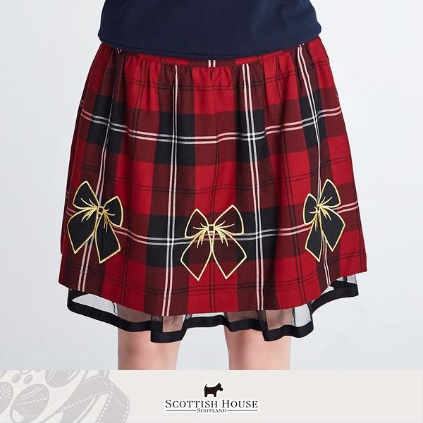 (紅黑格) 蝴蝶結貼布繡雙層正格短裙 Scottish House 【AM2127】