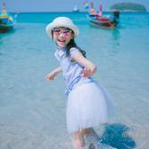 童裝女童夏裝新款兒童翻領刺繡襯衫寶寶短袖條紋襯衣 【店內再反618好康兩天】