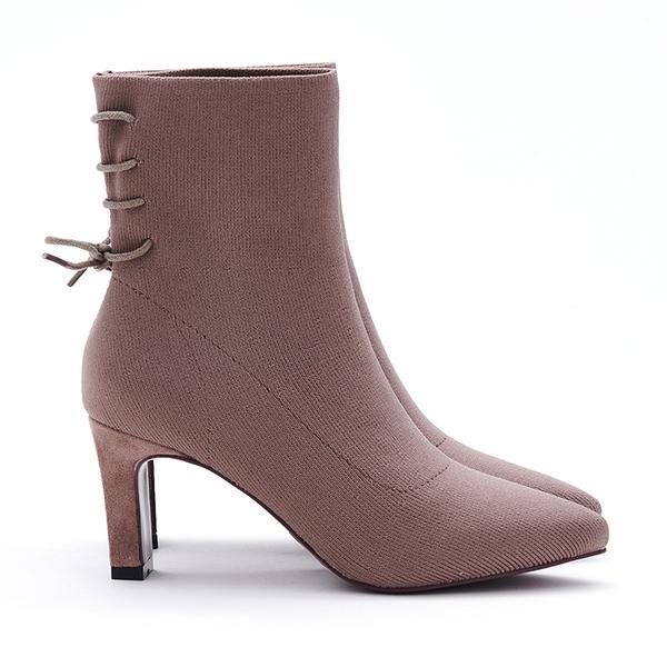 MICHELLE PARK 名模曲線 後綁帶高跟五分襪靴-可可
