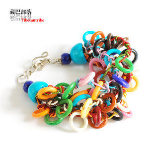 印度時尚版多層次彩骨繩編手鏈