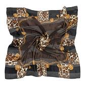 Christian Dior時尚豹紋金飾邊緞面方型絲巾(咖啡黑)179009-1