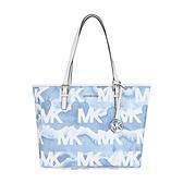 【南紡購物中心】MICHAEL KORS JET SET噴墨滿版LOGO托特包-中/藍