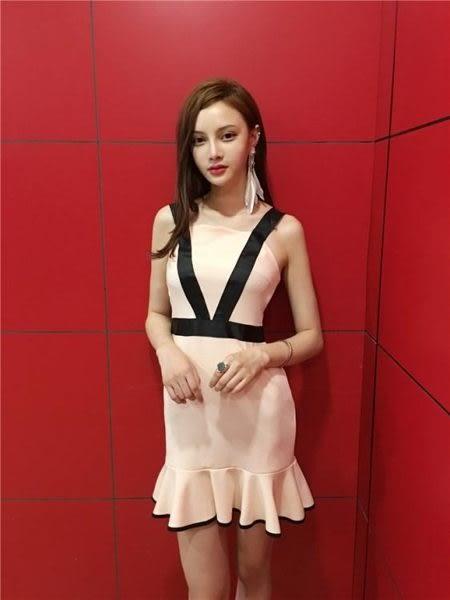 洋裝性感氣質名媛吊帶拼接修身顯瘦荷葉裙擺連身裙小禮服27844(現貨)快時尚