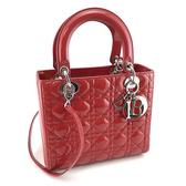 【奢華時尚】DIOR 莓紅色漆皮銀扣手提肩背兩用Lady Dior 黛妃包(八八成新)#24062