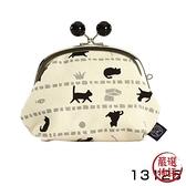 【日本製】貓帆布系列 3.5寸萬用零錢口金包 貓咪與寶物圖案 黑色 SD-7052 - 日本製 貓帆布系列