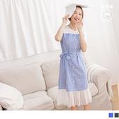 《DA7696-》假兩件高含棉條紋拼接網紗魚尾綁帶長洋裝 OB嚴選