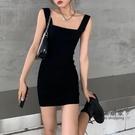 【限時促銷】一字領洋裝 黑色針織洋裝女春裝內搭打底吊帶裙修身顯瘦小個子性感包臀短裙
