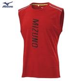 MIZUNO 男裝 背心 慢跑 路跑 吸汗快乾 眩光燙印 兩肩反光燙印 紅【運動世界】J2TA000463