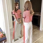 夏季運動套裝女時尚條紋短袖小心機社會高腰俏皮闊腿褲休閒兩件套 QQ2987『樂愛居家館』