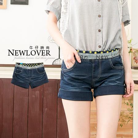 牛仔短褲NEW LOVER牛仔時尚【111-5534】韓款超夯好穿點點拼接印字反折S-XL