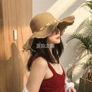 沙灘帽 帽子女韓版學生新款草帽太陽遮陽帽防曬防紫外線夏季涼帽女士圓臉