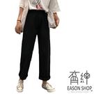EASON SHOP(GW5915)實拍丹寧口袋可調式腰間設計收腰牛仔褲女高腰長褲休閒褲可捲邊直筒九分寬褲