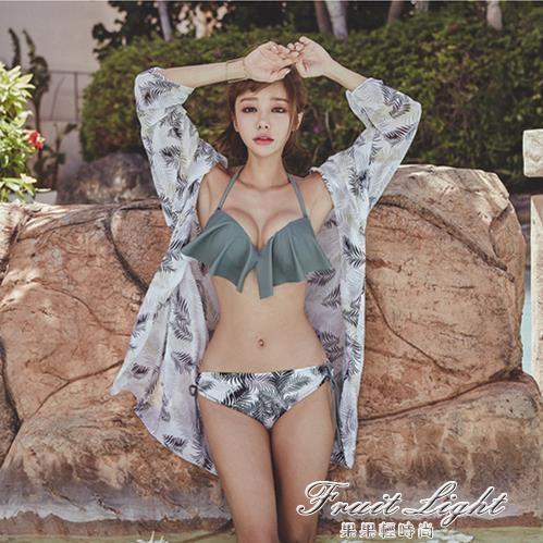 小清新泳衣女ins風仙女范比基尼三件套小胸鋼托聚攏性感沙灘溫泉 果果輕時尚
