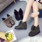 韓版秋季加絨鬆糕鞋學生內增高棉鞋高跟鞋  喵小姐