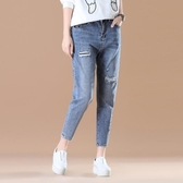 女裝破洞刺繡牛仔褲女 韓版休閒顯瘦長褲
