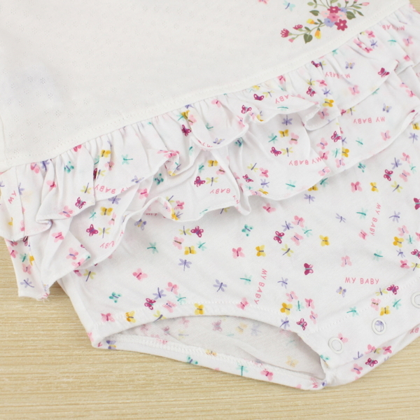 【愛的世界】娃娃領荷葉邊無袖包屁衣/1~3歲-台灣製-  ---幼服推薦