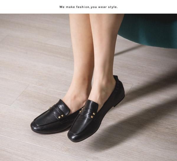 TAS素面牛皮後鬆緊樂福鞋–經典黑