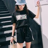 兩件套2019夏季新款ins運動套裝女夏純棉寬鬆ulzzang休閒上衣短褲兩件套『櫻花小屋』