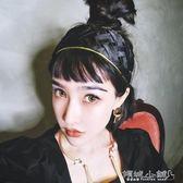 寬版交叉髮帶 洋氣金色包邊編織麻花交叉發帶黑色時女發箍發飾