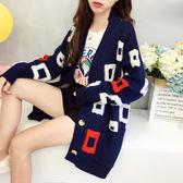 【GZ82】新款韓版寬鬆刺繡開衫 女中長款外套 秋冬針織衫 學生上衣潮