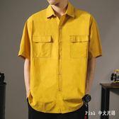 短袖襯衫男夏季新款日系寬鬆工裝五分袖襯衣潮流口袋純色半袖上衣 JY9517【pink中大尺碼】
