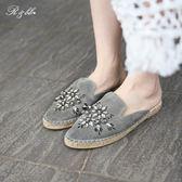 真皮休閒鞋-R&BB羊皮*度假風極美奢華水鑽穆勒鞋 寶石麻底懶人涼拖包鞋-灰色