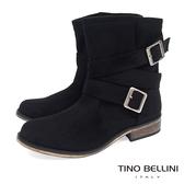 ★零碼出清★Tino Bellini率性不羈雙釦帶中筒工程靴_黑  A69066 2016AW