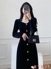 小禮服 赫本風小黑裙子女秋冬設計感小眾修身禮服黑色絲絨新款法式連身裙 愛丫 免運