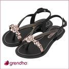 GRENDHA 晶鑽玫瑰平底涼鞋-女童-黑色
