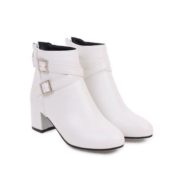 丁果、大尺碼女鞋34-45►交叉扣環中跟短靴*4色