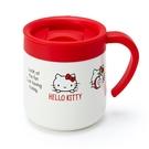 〔小禮堂〕Hello Kitty 單耳不鏽鋼附蓋保溫杯《紅白》300ml.保冷杯.茶杯 4901610-18548