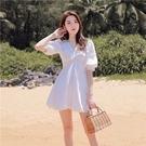 五分袖洋裝-白色氣質V領蝴蝶結女連身裙7...