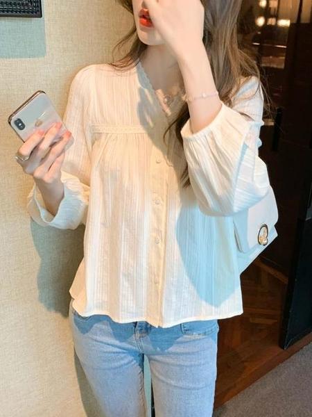 棉麻襯衫女新款年春季韓版設計感小眾蕾絲花邊精致米白色上衣 衣櫥秘密