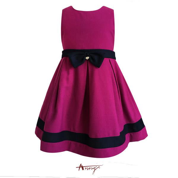 Annys貴氣夢幻桃紫高質素雅蝴蝶結洋裝*7225紫